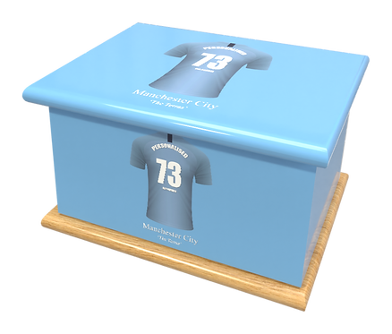 Personalised Ashes Caskets and Urns in Football Team Colours Manchester City