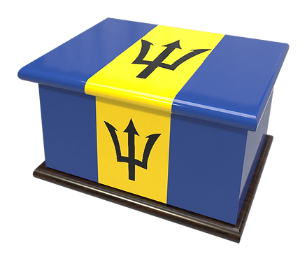 Personalised Custom Cremation Ashes Caskets COUNTRY AND BRITISH COUNTY FLAGS BARBADOS