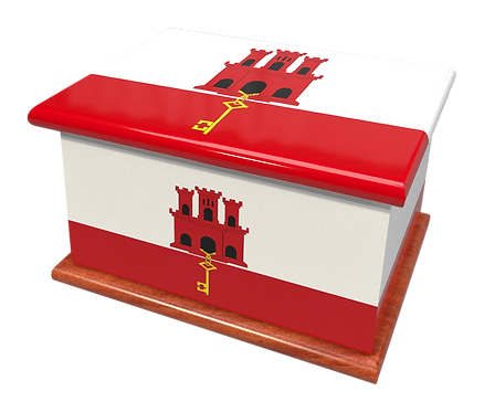 Personalised Custom Cremation Ashes Caskets COUNTRY AND BRITISH COUNTY FLAGS GIBRALTAR