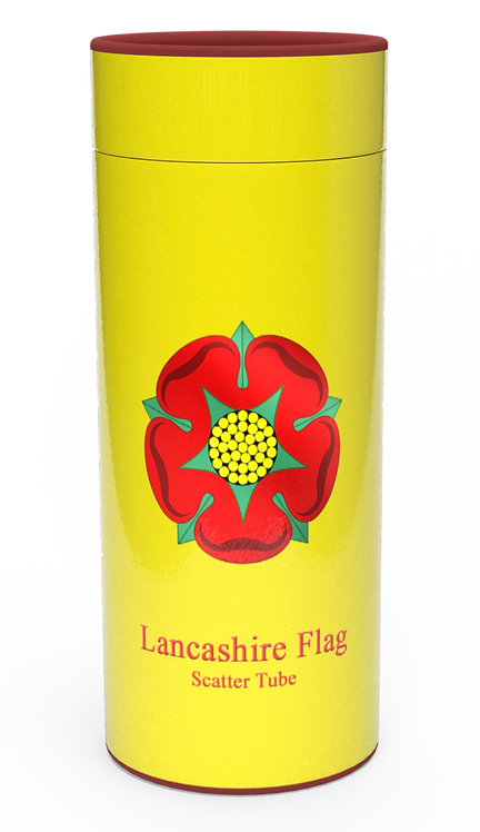 Personalised Custom Bespoke Ashes Scattering Tube Urn for Cremated Remains in Flag LANCASHIRE ROSE design