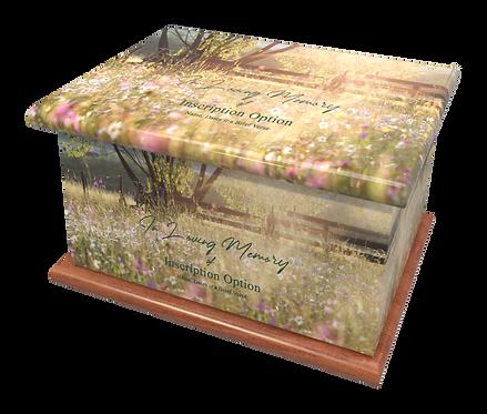 Custom Personalised Cremation Ashes Casket Urn SUMMER RAIN FIELD