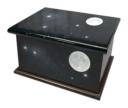 Personalised Custom Cremation Ashes Caskets and Keep-Sake Urns in a SPACE MOON SOLAR SYSTEM Landscape design