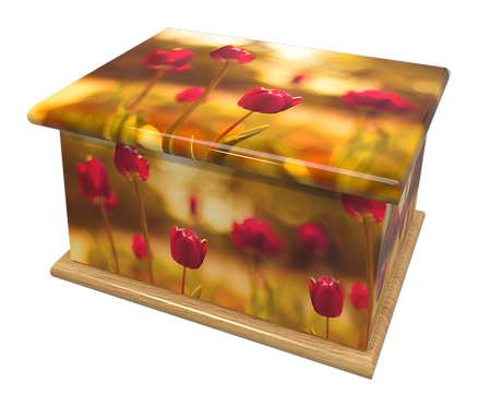 Custom Personalised Cremation Ashes Casket Urn RED TULIPS