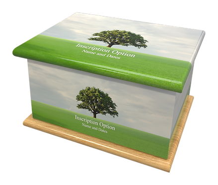 Custom Personalised Cremation Ashes Casket Urn SCENIC LONE OAK