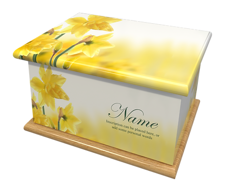 Custom Personalised Cremation Ashes Casket Urn FLOWERS FLORAL DAFFODILS