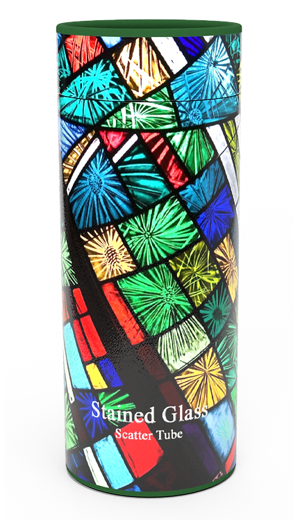 Personalised Custom Bespoke Ashes Scattering Tube Urn for Cremated Remains in a Religious Spiritual Faith STAINED GLASSdesign