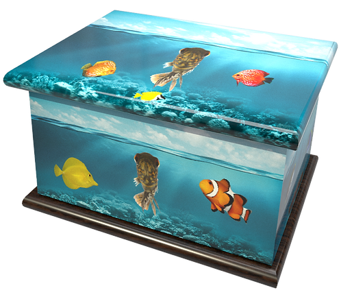 Custom Personalised Cremation Ashes Caskets Containers and Urns TROPICAL FISH TANK