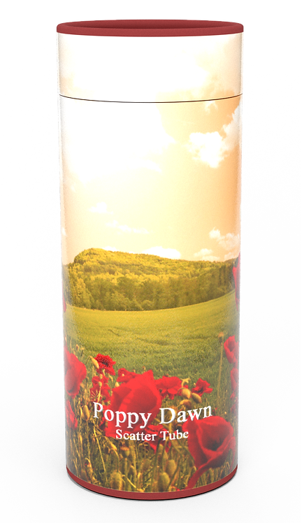 Personalised Custom Bespoke Ashes Scattering Tube Urn for Cremated Remains in Floral RED POPPY FIELD design