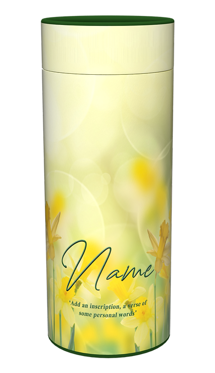 Custom Personalised Cremation Ashes Casket Scatter Tube DAFFODILS FLOWERS