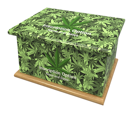 Custom Personalised Cremation Ashes Casket Urn CANNABIS WEED