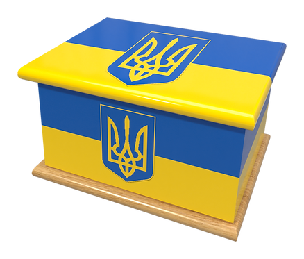 Personalised Custom Cremation Ashes Caskets COUNTRY AND BRITISH COUNTY FLAGS UKRAINE