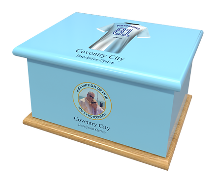 Custom Personalised Cremation Ashes casket urn FOOTBALL TEAM COVENTRY CITY