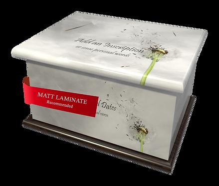 Custom Personalised Cremation Ashes Casket in FLORAL DANDELION design