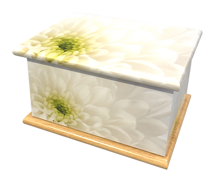 Personalised Custom FLORAL FLOWER WHITE Cremation Ashes Casket and Keep-Sake Urns