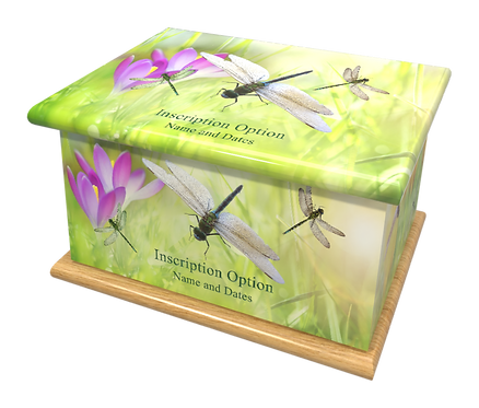 Personalised Custom Ashes Cremation Casket SPRING DRAGONFLIES