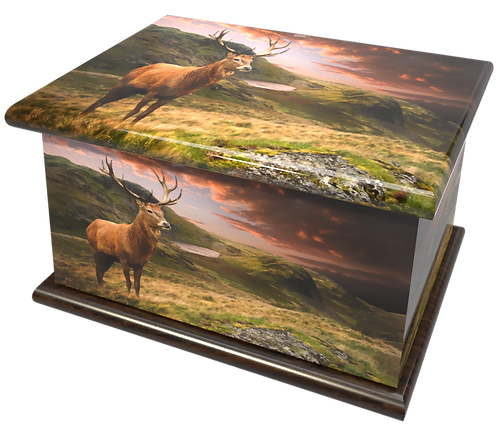 Scottish Highland Stag design PEROSNALISED CUSTOM Cremation Ashes Caskets, Urns and Keep-Sakes