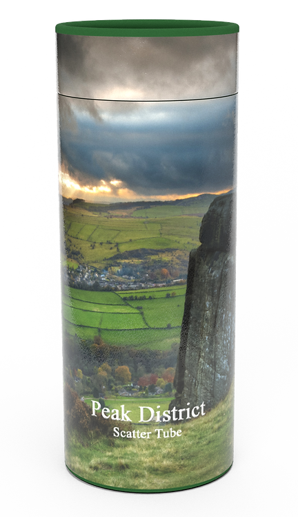 Custom Personalised Cremation Ashes Casket Urn Scenic Landscape PEAK DISTRICT