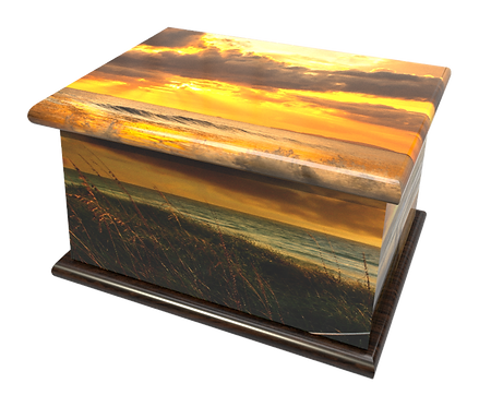 Personalised Custom Cremation Ashes Caskets and Keep-Sake Urns in a OCOEAN BEACH SUNSET Landscape design