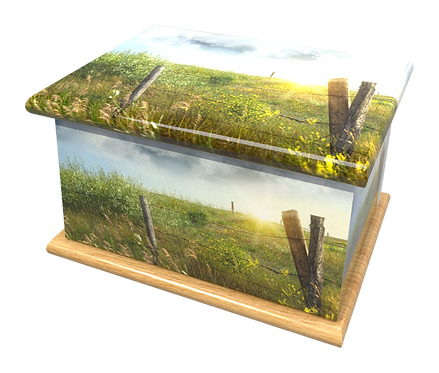 Personalised Custom Cremation Ashes Caskets and Keep-Sake Urns in a COUNTRYSIDE MEADOW FIELD Landscape design