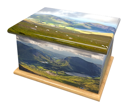 Custom Personalised Cremation Ashes casket Urn LANDSCAPE WALES SNOWDONIA