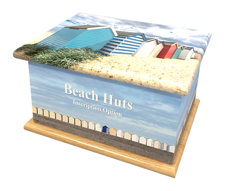 Custom Personalised Cremation Ashes casket Urn BEACH HUTS