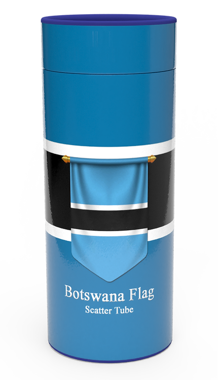 Personalised Custom Bespoke Ashes Scattering Tube Urn for Cremated Remains in Flag BOTSWAN AFRICAN design
