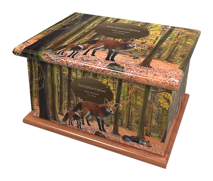 Custom Personalised Cremation Ashes Casket urn FOXES FOREST