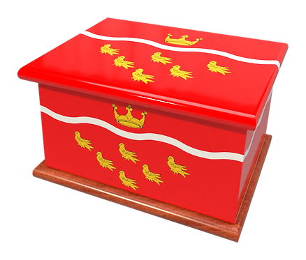 Custom Personalised Ashes Casket in a EAST SUSSEX FLAG design