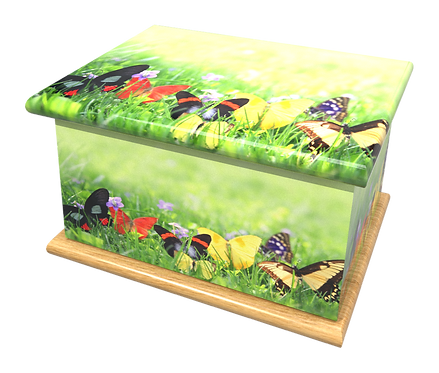 Custom Personalised Cremation Ashes Casket in FLORAL BUTTERFLIES design