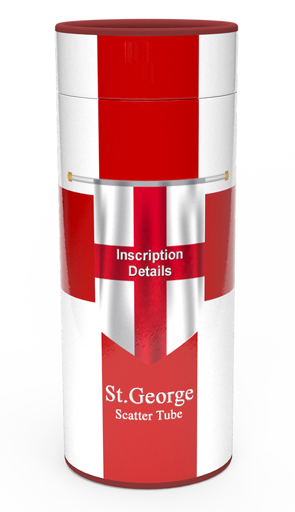 Personalised Custom Bespoke Ashes Scattering Tube Urn for Cremated Remains in Flag ENGLAND ST. GEORGEK design