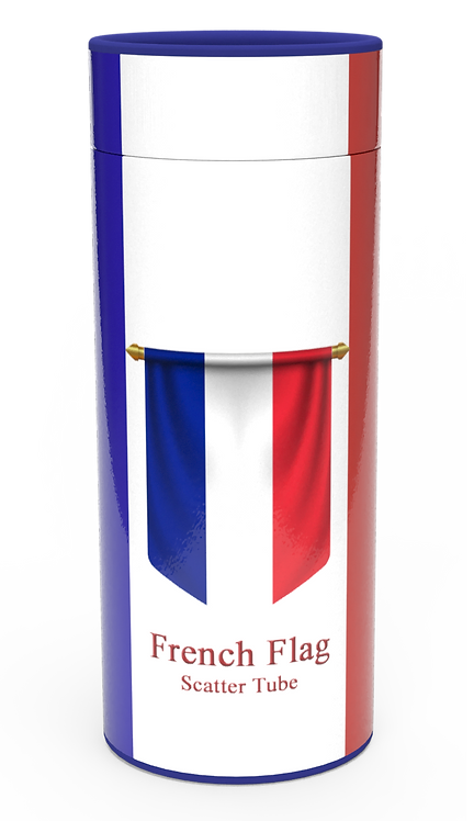 Personalised Custom Bespoke Ashes Scattering Tube Urn for Cremated Remains in Flag FRENCH FRANCE design