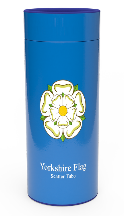 Personalised Custom Bespoke Ashes Scattering Tube Urn for Cremated Remains YORKSHIRE FLAGin four sizes