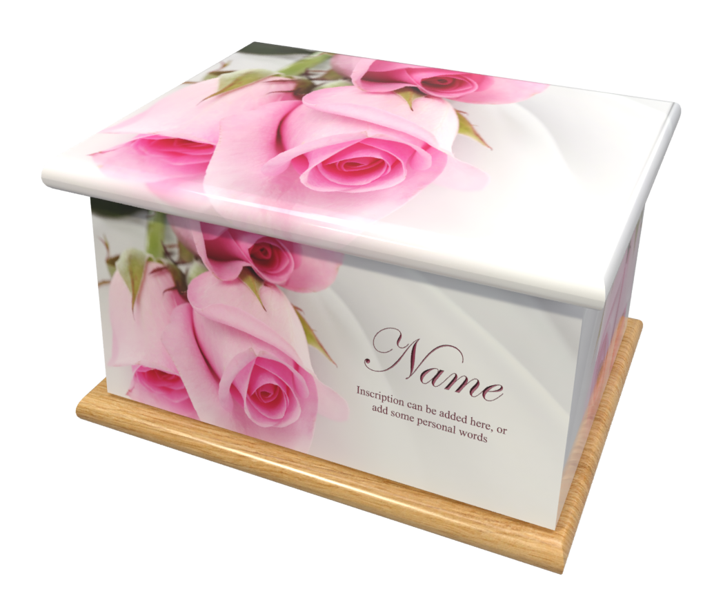 Ashes Casket SILK ROSES (OAK BASE)