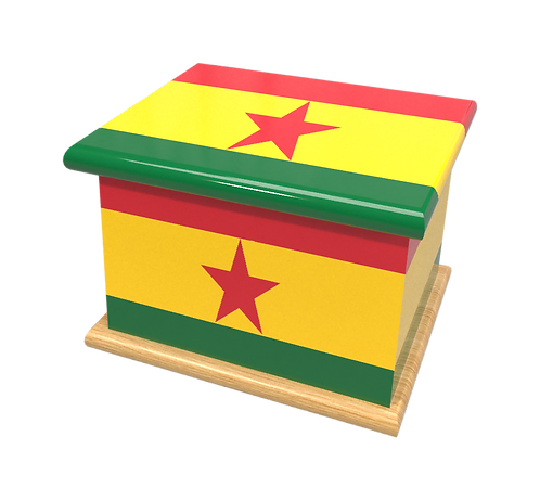 Personalised Custom GHANA FLAG Cremation Ashes Casket