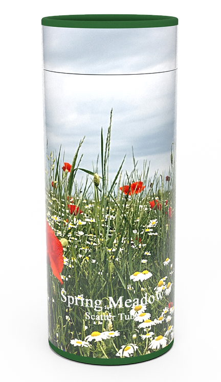 Personalised Custom Bespoke Ashes Scattering Tube Urn for Cremated Remains in Floral SPRING MEADOW design