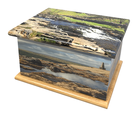 Personalised Custom Cremation Ashes Caskets and Keep-Sake Urns in a YORKSHIRE DALES MOORS Landscape design