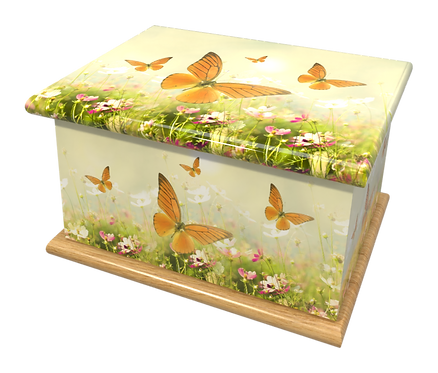 Custom Personalised Cremation Ashes Casket in BUTTERFLY BUTTERFLIES design