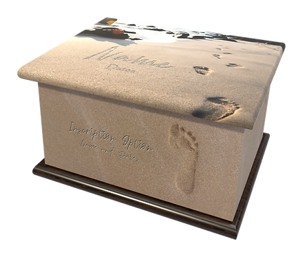 Custom Personalised Cremation Ashes Casket Urn RELIGIOUS FAITH FOOTPRINTS IN THE SAND HOLY JESUS