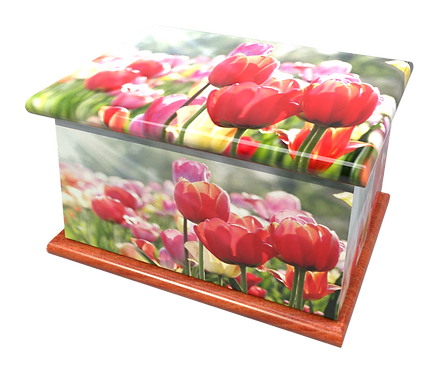 Personalised Custom FLORAL TULIPS Cremation Ashes Casket and Keep-Sake Urns