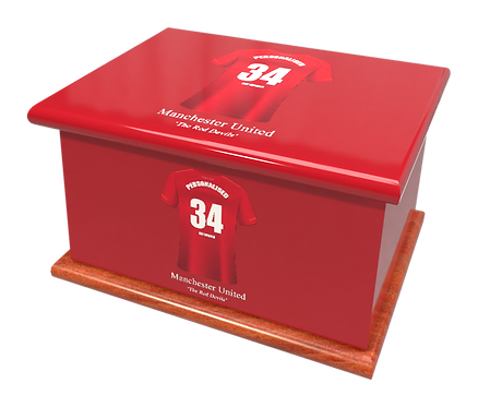 Personalised Ashes Caskets and Urns in Football Team Colours Manchester United