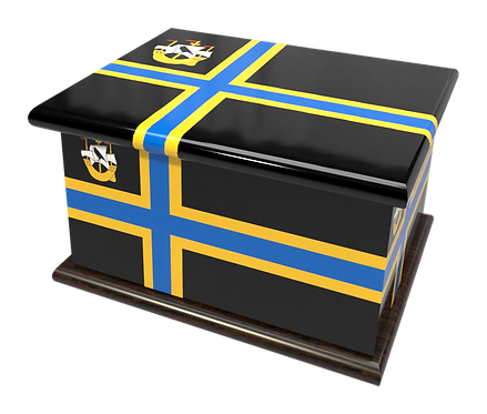 Custom Personalised Ashes Casket in a CATHINESS FLAG design