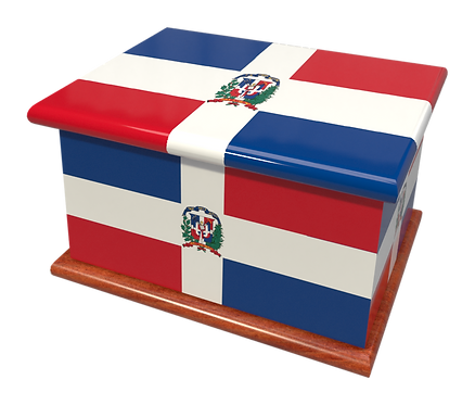 Personalised Custom Cremation Ashes Caskets COUNTRY AND BRITISH COUNTY FLAGS DOMINICAN REPUBLIC