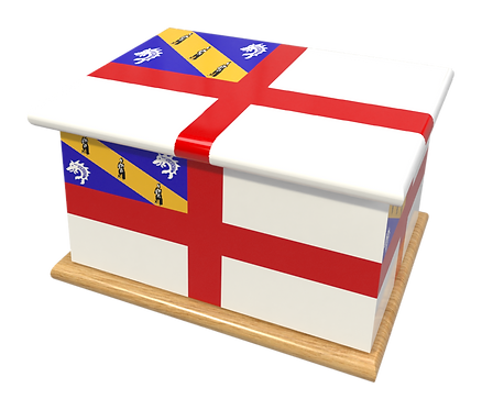 Custom Personalised Ashes Casket in a HERMS FLAG design