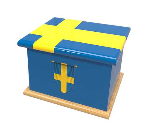 Personalised Custom Cremation Ashes Caskets COUNTRY AND BRITISH COUNTY FLAGS SWEDEN SWEDISH