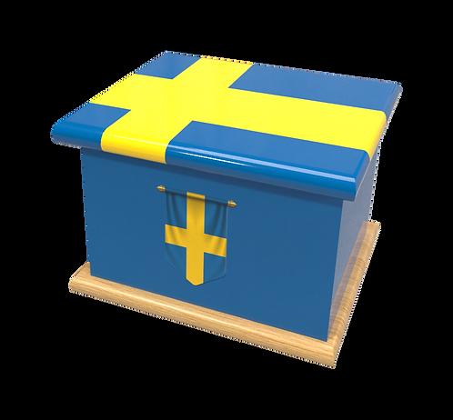 Personalised Custom SWEDEN SWEDISH FLAG Cremation Ashes Casket