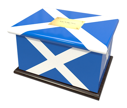 Personalised Custom Cremation Ashes Caskets COUNTRY AND BRITISH COUNTY FLAGS SCOTLAND SCOTTISH HIGHLANDS