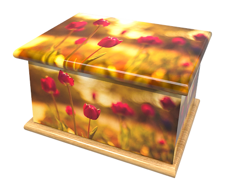 Personalised Custom FLORAL RED TULIPS Cremation Ashes Casket and Keep-Sake Urns