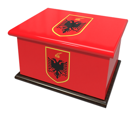 Custom Personalised Ashes Casket in a ALBANIA FLAG design