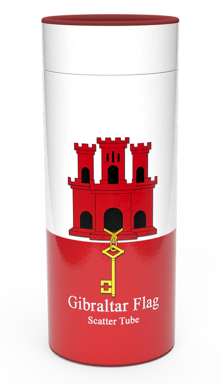 Personalised Custom Bespoke Ashes Scattering Tube Urn for Cremated Remains in Flag GIBRALTAR design