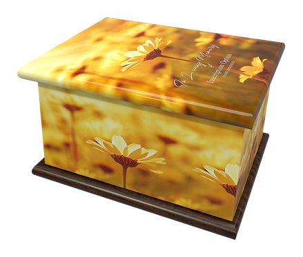 Custom Personalised Cremation Ashes Casket Urn FIELDS OF GOLD